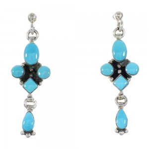 Turquoise Southwestern Authentic Sterling Silver Post Dangle Earrings AX95765