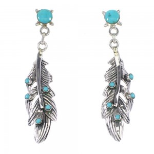 Turquoise Southwest Silver Feather Post Dangle Earrings AX95787