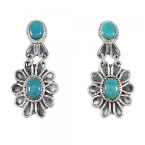 Sterling Silver Turquoise Flower Jewelry Post Dangle Earrings AX95790