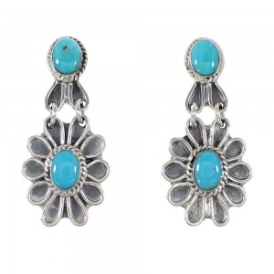 Southwestern Sterling Silver Turquoise Flower Jewelry Post Dangle Earrings AX95792