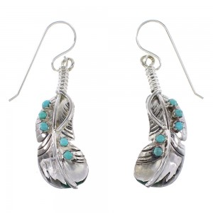 Southwestern Sterling Silver Feather Turquoise Hook Dangle Earrings AX95798