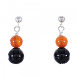 Onyx And Carnelian Silver American Indian Bead Post Dangle Earrings AX95905