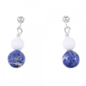 Sodalite And White Agate Silver Navajo Bead Post Dangle Earrings AX95916