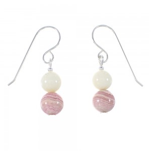 White Agate And Rhodochrosite American Indian Sterling Silver Bead Hook Dangle Earrings AX95956