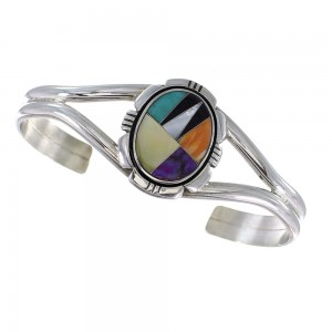 Genuine Sterling Silver Multicolor Inlay Southwest Cuff Bracelet RX95929
