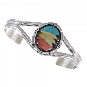 Genuine Sterling Silver Multicolor Cuff Bracelet RX95941