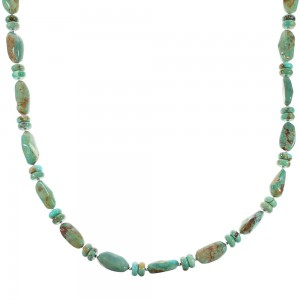 Sterling Silver Navajo Turquoise Bead Necklace AX96223
