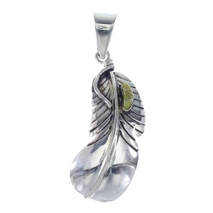 Turquoise Southwest Feather Sterling Silver Pendant RX96198