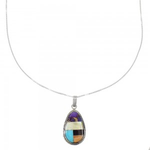 "Multicolor Inlay Southwest Pendant Sterling Silver 16"" Box Chain Necklace AX96314"