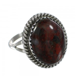 Jasper Native American Genuine Sterling Silver Jewelry Ring Size 6-3/4 AX96396
