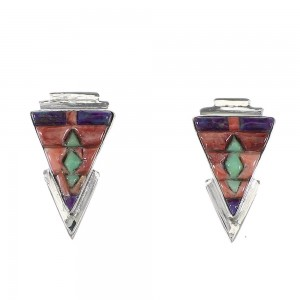 Multicolor Inlay Southwestern Sterling Silver Post Earrings RX96594