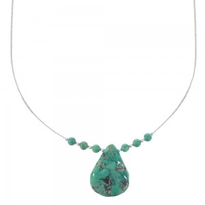 Liquid Sterling Silver Southwestern Turquoise Tear Drop Necklace AX96725