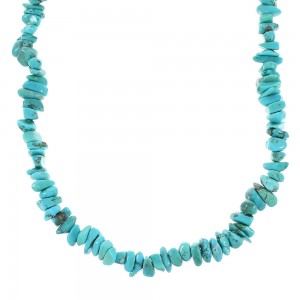 Genuine Sterling Silver And Turquoise Bead Necklace RX96678