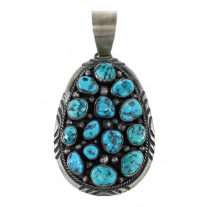 Sterling Silver Native American Turquoise Old Pawn Style Pendant AX96917