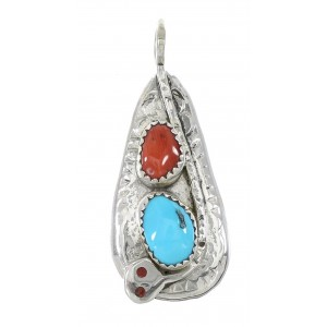 Turquoise And Coral Silver Snake Zuni Effie Calavaza Pendant AX96927