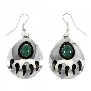 Navajo Indian Sterling Silver And Malachite Bear Paw Hook Dangle Earrings RX97340