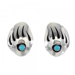 Navajo Genuine Sterling Silver Turquoise Bear Paw Post Earrings RX97342