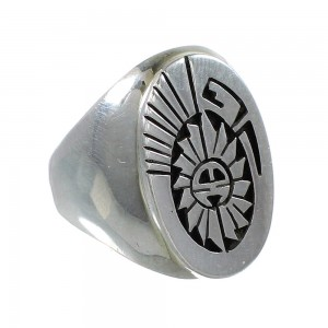 American Indian Sterling Silver Sun And Water Wave Calvin Peterson Ring Size 10 RX99652