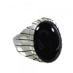 Navajo Silver And Onyx Ray Jack Ring Size 12-3/4 AX99702