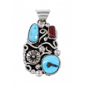 Turquoise And Coral Genuine Sterling Silver Flower Navajo Pendant AX97602