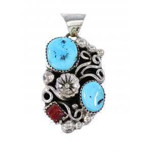 Turquoise And Coral Authentic Sterling Silver Flower Navajo Pendant AX97604