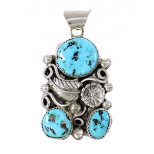 Sterling Silver Navajo Turquoise Flower And Leaf Pendant AX97610