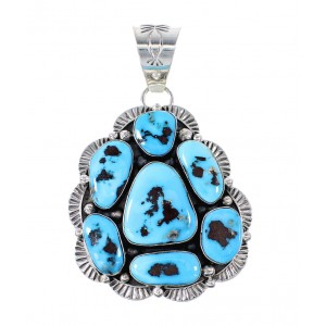 Sleeping Beauty Turquoise Navajo Sterling Silver Pendant AX97643
