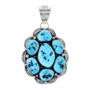 Sleeping Beauty Turquoise Navajo Genuine Sterling Silver Pendant AX97647