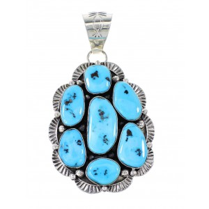 Sleeping Beauty Turquoise Sterling Silver Navajo Pendant AX97649