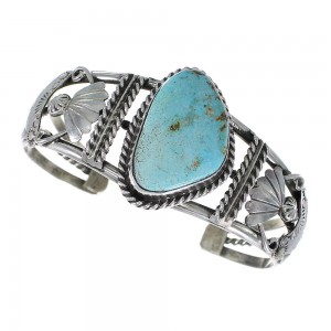 Turquoise Genuine Sterling Silver Navajo Indian Cuff Bracelet RX97842