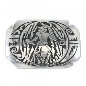 Kachina Figure Water Wave Navajo Genuine Sterling Silver Belt Buckle AX98024