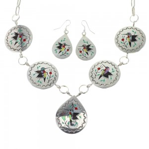 Multicolor Sterling Silver Navajo Hummingbird Link Necklace Earrings Set RX97998