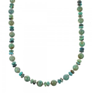 Turquoise Genuine Sterling Silver Navajo Bead Necklace RX98084