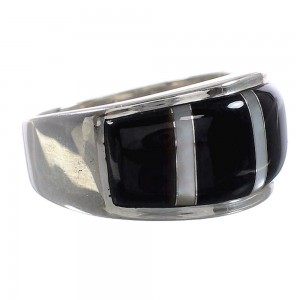 Black Mother of Pearl Sterling Silver Jewelry Ring Size 6-1/2 AS39257