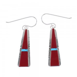 Turquoise And Coral Silver Native American Theresa Joe Hook Dangle Earrings RX98243