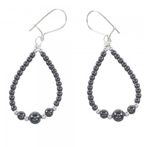 Hematite And Sterling Silver Navajo Bead Hook Dangle Earrings AX98311