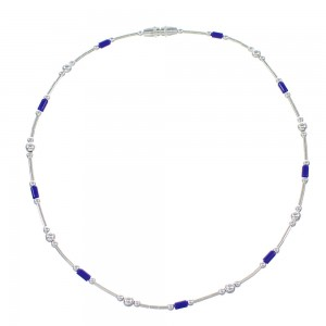 Lapis And Liquid Silver Jewelry Bead Anklet RX98420