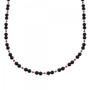 Coral And Onyx Navajo Sterling Silver Bead Necklace AX98264