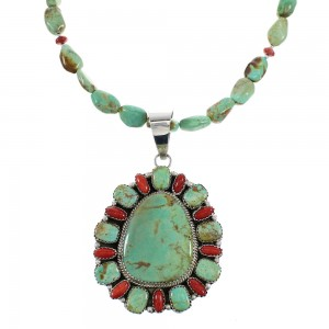 Kingman Turquoise And Coral Genuine Sterling Silver Navajo Bead Necklace Set AX98321