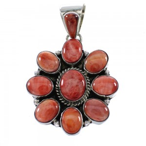 Red Oyster Shell Sterling Silver Navajo Indian Pendant AX98491