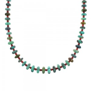Turquoise And Coral Sterling Silver Navajo Bead Necklace AX98532