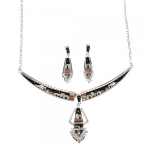 Multicolor Link Necklace With Detachable Centerpiece Earrings YS70510