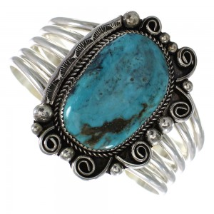 Turquoise Native American Genuine Sterling Silver Cuff Bracelet AX98645