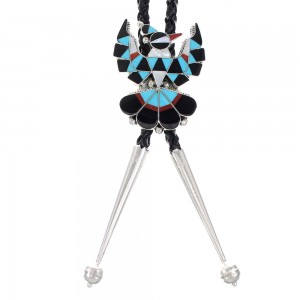 Multicolor And Authentic Sterling Silver Zuni Thunderbird Bolo Tie RX98621