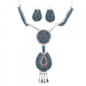 Turquoise Needlepoint Sterling Silver Navajo Link Necklace Earrings Set AX99019