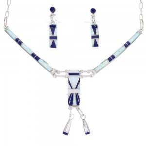 Lapis And Opal Zuni Genuine Sterling Silver Link Necklace Earrings Set AX98993