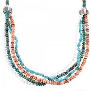 4-Strand Multicolor Sterling Silver Native American Bead Necklace AX99068