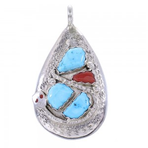 Turquoise And Coral Silver Zuni Snake Effie Calavaza Pendant AX99085
