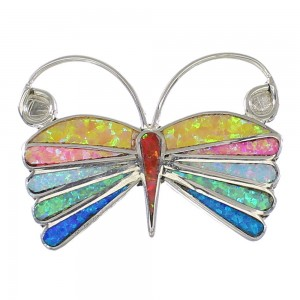 Multicolor Opal Inlay Silver Zuni Butterfly Pin Pendant AX99150