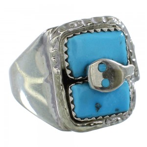 Authentic Sterling Silver Turquoise Snake Effie Calavaza Zuni Ring Size 9-3/4 AX99559